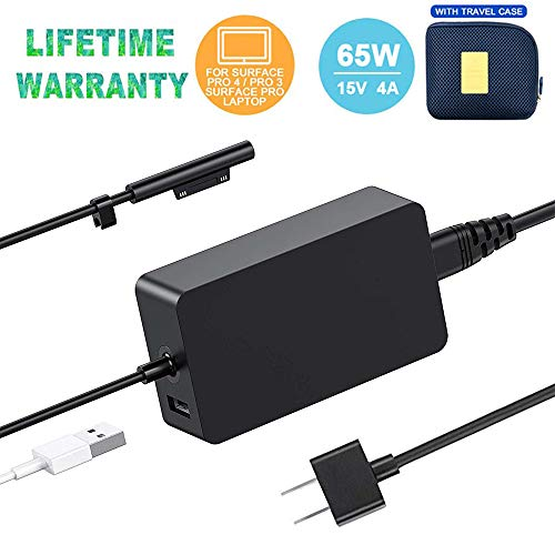 (Original Quality) Surface Pro Charger,65w 15v 4A AC Power Adapter Charger for Microsoft Surface Pro3 Pro4 Pro5 Pro6 Surface Go Surface Laptop 2 & Surface Book with USB Charging Port and 6FT Cord