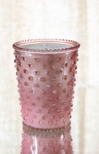 Simpatico Hobnail Candle, Coral (Hobnail Ruby)