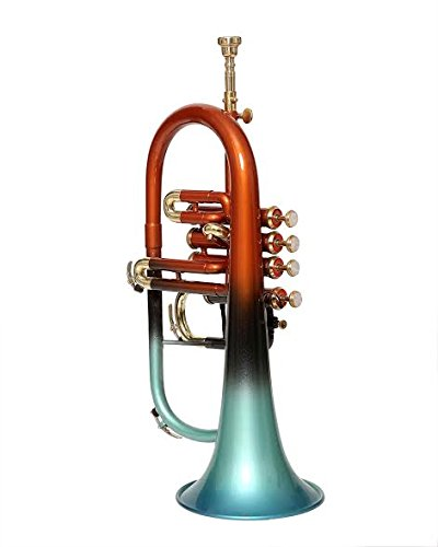 NASIR ALI Bb PITCH FLUGEL HORN 4 VALVE ORANGE + GREEN LACQUERED WITH FREE CASE AND MP
