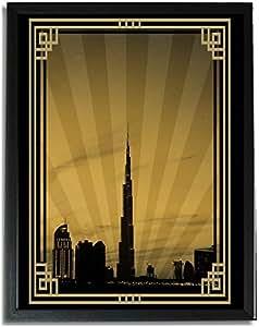 Dubai Skyline Down Town - Sepia With Gold Border No Text F09-m (a4) - Framed