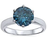 2ct Blue Diamond Solitaire Engagement Ring 14K White Gold
