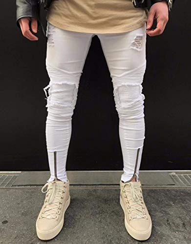 Size Vintage Fit Hip white Strappato Cool Moto Slim Jeans Pantaloni Plus Hop Uomo Ragazzo Da Streetwear Cool So Denim zqwq0UPt