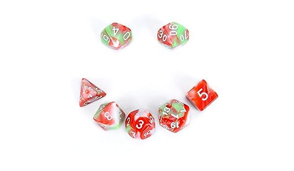 FLASHOWL Juego de Dados poliédrico D&D para Juegos de rol Dungeons and Dragons Juegos de Mesa RPG MTG D4, D6, D8, D10, D12, D20 7 Piezas de Dados de Tres Colores (7