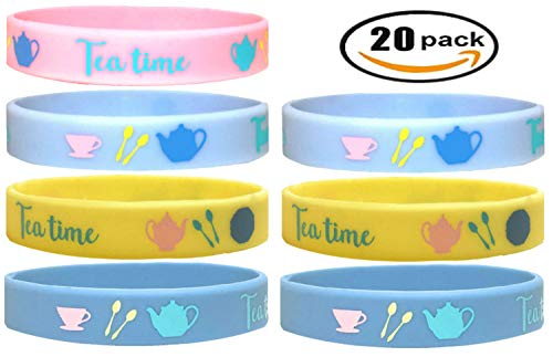 20 pcs (k) Tea TIME Tea Party Favors Wristband/Size Adult and Kids, Birthday Jewelry Toy Party Supplies Cute Gift Pinata Filler Halloween Gift (Tea Time, Kids) ()