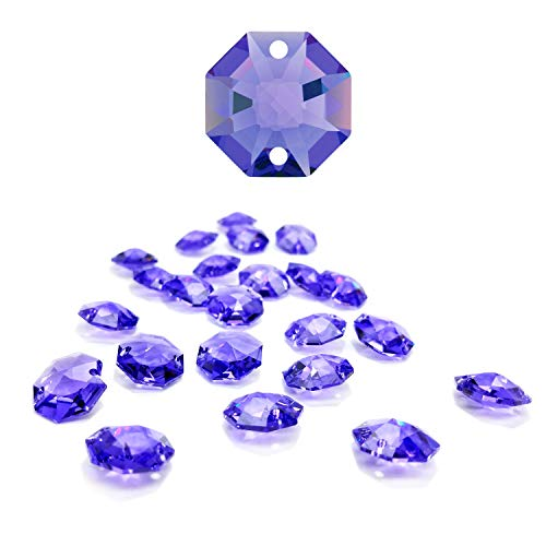 CrystalPlace 12 Pcs Swarovski Crystal, 14mm Blue Violet, Two Holes Strass Octagon Lily, Ideal for Jewelry Making, Chandelier Parts, Arts Crafts