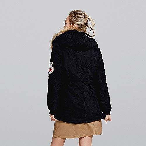 Da Elecenty Jacket Nero Giacca Donna Outwear Cappuccio Trench Con Elegante Lungo Cardigan SgqpS