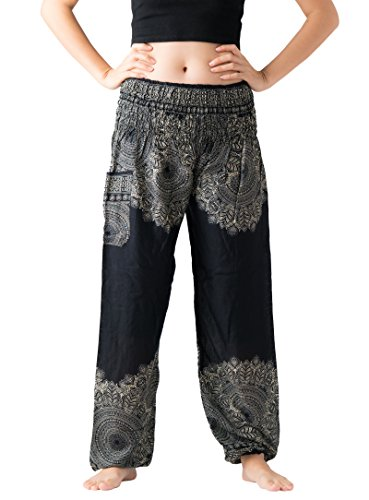 Bangkokpants Womens Boho Pants Hippie Clothes Yoga Outfits Peacock Design One Size Fits  Hippierose Black