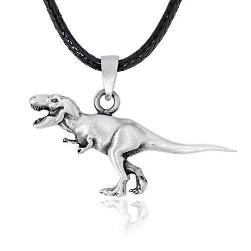 Namaste Jewelers Tyrannosaurus T-Rex Dinosaur Pendant Necklace Pewter Jewelry