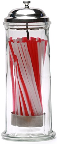 (Circleware 66793 Retro Old Fashioned Glass Straw Dispenser Holder with Metal Lid and Red & White Beverage Drinking Tubes Included, Holds Pencils and Chopsticks, 10.8