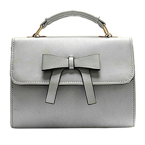 (Hot Sale! Clearance! Women Bag,TodaiesWomen Bag Bowknot Pure Color Messenger Bags Shoulder Bag 2017 (22918cm, Gray))