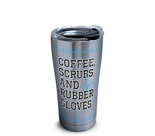 Tervis 1304399 Coffee, Scrubs and Rubber Gloves Insulated Tumbler with Clear and Black Hammer Lid, 20 oz Stainless Steel, Silver