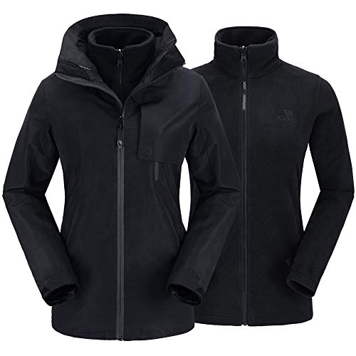 CAMELSPORTS Womens Waterproof Ski Jacket Windproof Softshell 3-in-1 Jacket Outdoor Warm Fleece Jacket Winter Raincoat Black XL