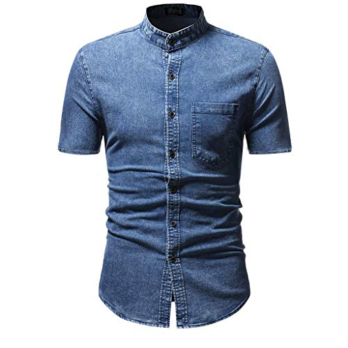 Men's Short Sleeve Denim Shirts Casual Slim Fit Button Shirt with Pocket Tops Blouse Beautyfine Blue]()