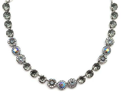 Mariana Swarovski Crystal Silver Plated Necklace Dark Grey Blue Flower Mosaic 215-3 Martini by Mariana