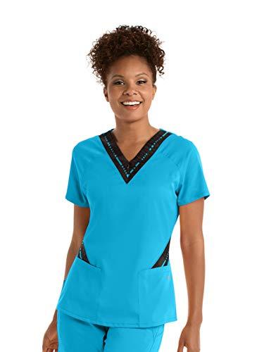 (Grey's Anatomy Active GVST017 Women's Zip Text Scrub Top Blue Tonic/Ga Blue Tonic Print M)