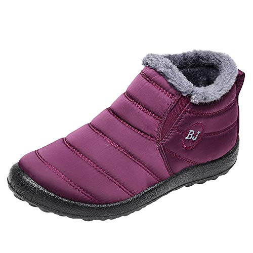 Boomboom Women Winter Ankle Boots Plus Velvet Flat Snow Boots Wine US 6.5