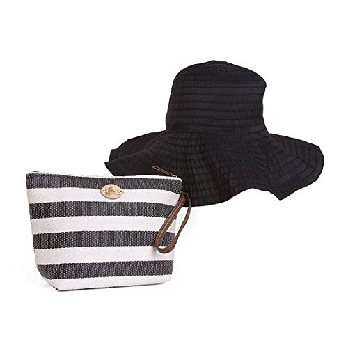 cappelli-straworld-striped-pack-a-hat-sun-hat-with-with-carrying-case-black-white