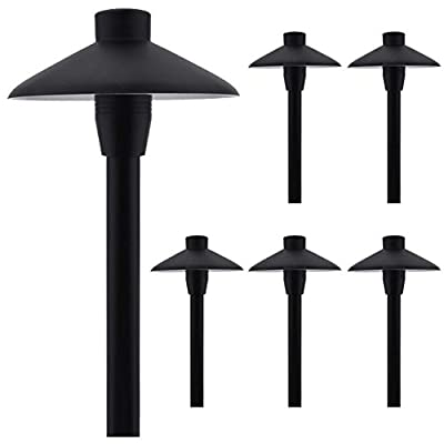 """MarsLG ALS1 Aluminum Low Voltage Landscape Accent Path and Area Light with 6.5"""" Shade and 18"""" Stem in Black Finish, Ground Spike and Free G4 LED Bulb (6-Pack), 36PL02BKx6"""