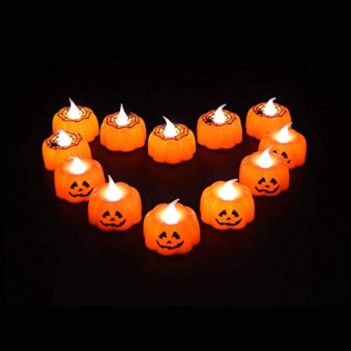 Halloween Decorations Candles Tea Lights, Battery Operated, Flickering Flameless (12PCS) by Friendship Shop (Image #1)