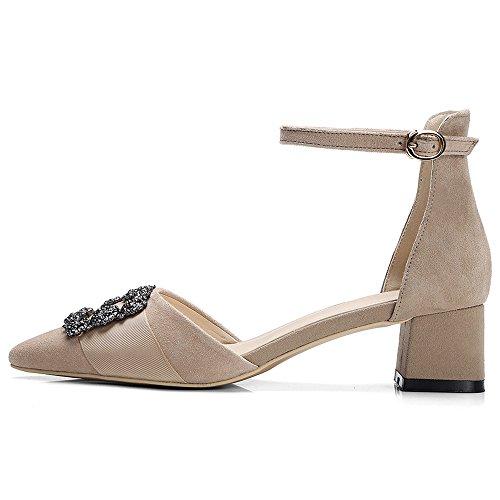 Nine Seven Cuero Moda Puntiagudos Zapatos de Tacón Grueso con Correa de Tobillo para Mujer albaricoque