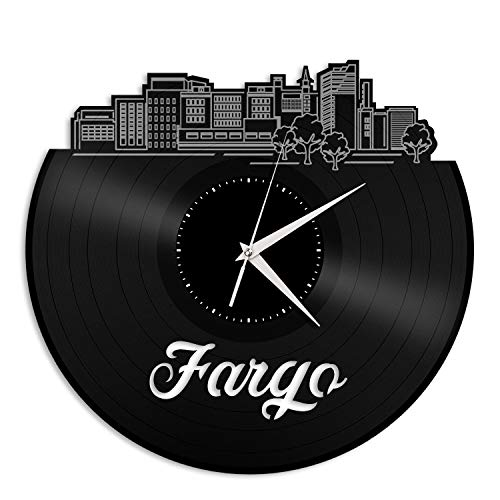 VinylShopUS - Fargo ND Vinyl Wall Clock City Skyline Souvenir Best Gift for Friends | Home Office and Bedroom Anniversary Decoration -