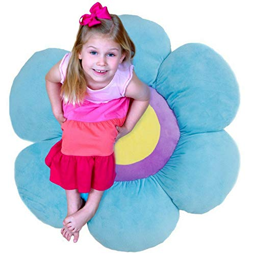 Flower Pillow to be Used as Floor Pillow or Decorative Pillow - Adorable Daisy Flower Shape and Color Blue - Large, Soft and Cozy Pillow for Floor Sitting, Playtents, Girls (Kids Soft Shapes)