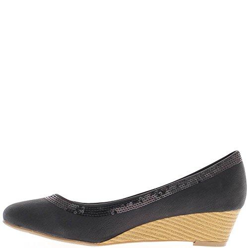 Zeppa nera donne scarpe piccolo tacco 4cm legno