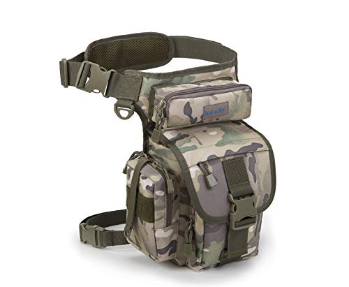 Jueachy Multifunctional Drop Leg Waist Bag, Tactical Military Thigh Hip Outdoor Pack for Motorcycling Hiking Traveling Fishing Tool Pouch with Detachable Water Bottle Pouch,Camouflage