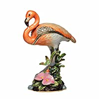HSRT Flamingo Crystal Jeweled Trinket Box Rhinestone Necklace Jewelry Storage Container Collectible Gifts