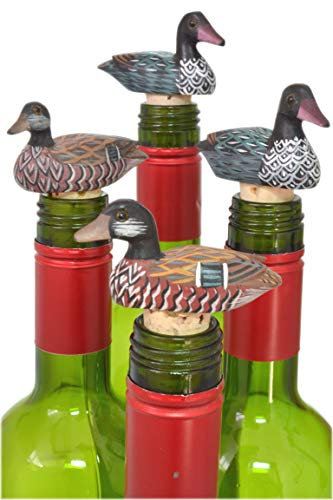 Set 4 Hand Painted Duck Loon Decoy Lodge Lake Decor Wine Bottle Cork ()