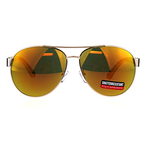 Womens Luxury Boyfriend Style Pilots Officer Metal Sunglasses - Sunglasses Officer