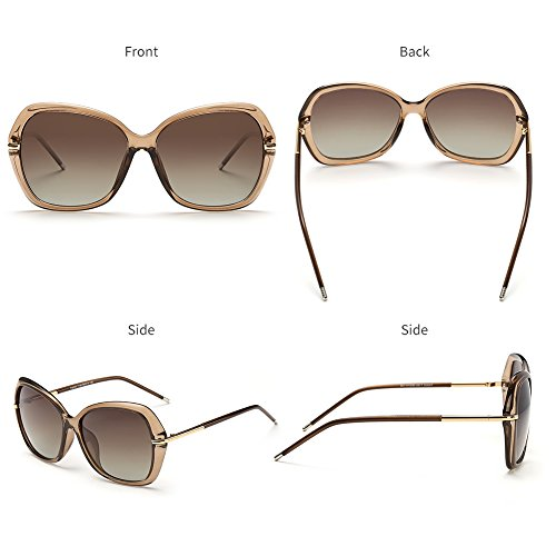 DONNA Women's Classic Oversized Polarized Sunglasses Super Big Circle Shades Ultralight D72(Brown) by DONNA (Image #6)