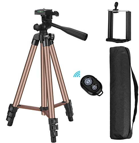 iPhone Tripod with iOS Andriod System, Eocean 50-inch Universal Tripod for Cellphone, Gopro and Camera with Wireless Remote, Compatible with iPhone/Galaxy Note 9/S9/Google (Brown)