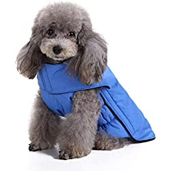 Scheppend Dog Jackets for Winter Windproof Waterproof Cozy Dog Coat for Cold Weather Warm Apparel Clothes Puppy Dog Vest for Small Medium Large Dogs (Medium, Blue)