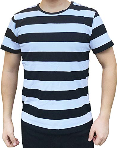 Ezsskj Men Boy Stripes Tee Tops Crew Neck Black White Striped T Shirt Outfits Large -