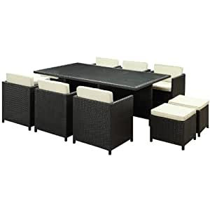 LexMod Reversal Outdoor Wicker Patio 11-Piece Dining Set in Espresso with White Cushions