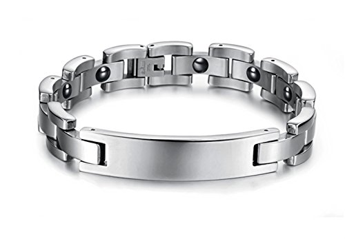 Dalino Fashion and Personality Fashion Titanium Steel Bracelet Energy Health Care Health Accessories with 11 Magnets for Unisex by Dalino