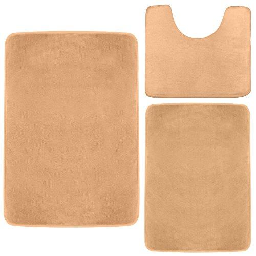Clara Clark Memory Foam Bath Mat, Ultra Soft Non Slip and Absorbent Bathroom Rug. – Cream, Set of 3 – Small/Large/Contour
