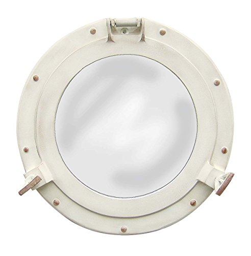 Nagina International Antique White Porthole Mirror | Maritime Aluminum Vintage Decor ()