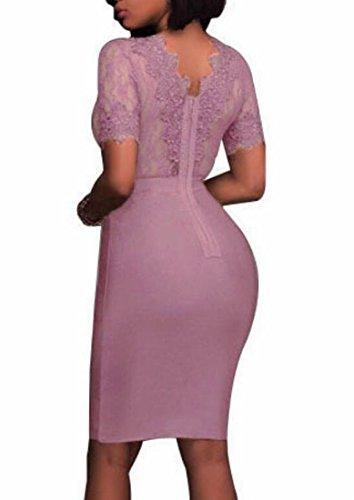 Club Pencil Bodycon V Sleeve BLTR Women Through Dress Neck Purple See Short zUR58w