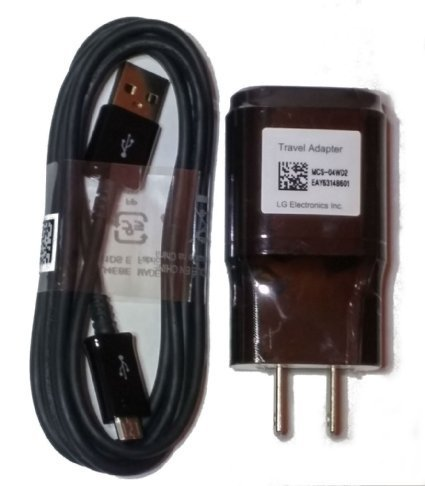 LG OEM Charger 1.8 A with LG Micro USB Cable for LG G2 G3 G4 - Black - Lg G3 Charger And Cable