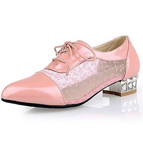 VogueZone009 Damen Schnüren Niedriger Absatz Blend-Materialien Rein Spitz Zehe Pumps Schuhe Pink