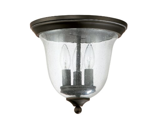 - Capital Lighting 9541OB Traditional 3-Light Flush Mount, Old Bronze Finish with Seedy Glass