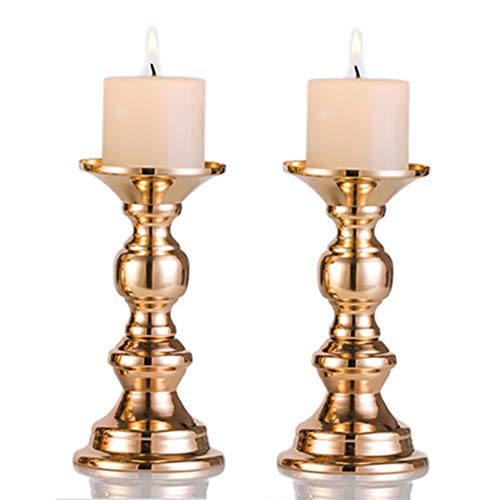"2Pcs Gold Metal Pillar Candle Holders, Flameless Candlestick Holders Stand Centerpieces Decoration Ideal for Weddings, Special Events, Parties (Fit 2"" Dia Canlde 6"" H, 2Pcs)"