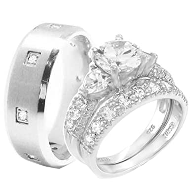 Wedding Ring Set 3 Pieces His U0026 Hers, Menu0027s STAINLESS STEEL U0026 Womenu0027s  Rhodium Plated
