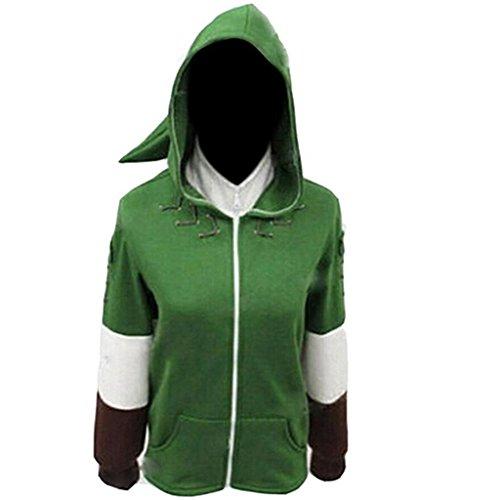 Link Classic Costumes Adult (Poetic Walk Legend of Zelda Link Green Anime Hero Jacket Zipper Coat (Medium,)