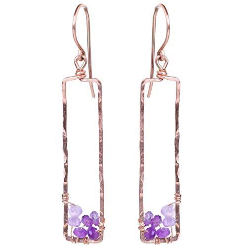 - Rose Gold Purple Dangle Earring - 14k Fill Amethyst Gemstone Jewelry Rectangle Gift - Valentine,Galentine,Love,Romantic,Thoughtful Present