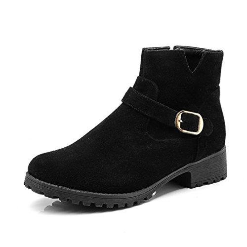 hebilla Otoño Invierno QX estudiantes botas e Black desnuda redonda mujer lado de cabeza ZQ botas negrita con elegante con qFgPxP