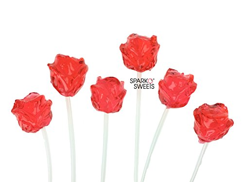 Twinkle Pops Lollipop, Red 3D Rose Shapes, (Pack of 120 Lollipops) 12 inch Long Lollipop Stem, Handcrafted in USA, Fruit Flavors, 37.80 Ounce by Sparko Sweets