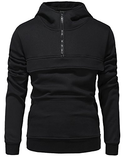 Half Zip Pullover Hooded Jacket (Men's Pullover Fleece Hoodie Lightweight Jacket Hooded Sweatshirt Half Zip Coat Black Small)